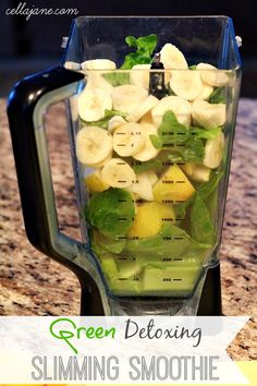 1-very unripe banana 1-one large pear and or green apple 1 cup of spinach 1 cup of romaine lettuce or I prefer KALE Juice of 2 lemons 1-cup of celery Organic honey or I prefer Truvia (natural sweetener) to sweeten 1 cup of very cold water