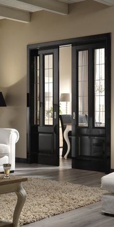 Interior pocket doors really like the frosted glass on these pocket doors to separate office from great room interior pocket doors with glass inserts Black Interior Doors, Black Doors, Door Design, House Design, Windows And Doors, Tall Windows, Home And Living, Living Room, French Doors