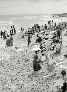 The Beach, 1910 - Click image to find more History Pinterest pins