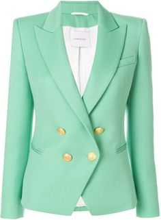 -- Pierre Balmain double breasted blazer -- only always Mint Green Blazer, Green Jacket, Balmain Blazer, Balmain Jacket, Blazers For Women, Jackets For Women, Ladies Blazers, Green Suit Women, Blazer Outfits