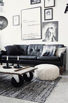 Black and white interior. Zwart wit interieur. Wall full with frames. Lijsten aan de muur. Love this style. Stoer interieur.