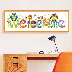 """DIY Cute Owl Letter""""Welcome"""" Diamond Embroidery Painting Cartoon Birds Mosaic Full Round Diampnd Painting Cross Stitch Daimond #Affiliate"""