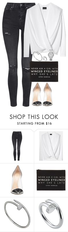 """""""Unbenannt #2096"""" by luckylynn-cdii ❤ liked on Polyvore featuring Topshop, Gianvito Rossi, Forever 21, Cartier and FOSSIL"""