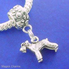 Sterling Silver .925 SCHNAUZER Dog EUROPEAN Euro DANGLE Bead CHARM Schnauzer Art, Dangles, Miniatures, Charmed, Schnauzers, Beads, Sterling Silver, Unique Jewelry, Handmade Gifts