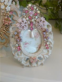 Beautiful Bejeweled Pink Oval Vintage Frame Roses From The Collection  By Debbie Del Rosario-Weiss, Juliana