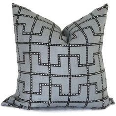 Celerie Kemble Bleecker Twilight Gray Decorative Pillow Cover, Square or Lumbar pillow - Accent Pillow, Throw Pillow