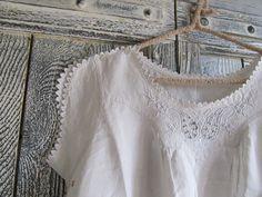 1930s Antique Nightgown - Vintage nightgown - Matt White - Hand Embroidery - Breastfeeding - Natural Row Hemp