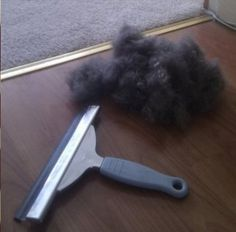 Use a squeegee to pull up unwanted pet hair that your vacuum leaves behind. I'll have to try this for my puffy Maggie!
