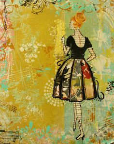 "Take Me Away- ""this lady dreams of being taken away. Taken away to romantic places with beautiful buildings, lovely music and inspiring atmosphere."" retro inspired abstract artwork by inspirational artist Janelle Nichol Collage Art Mixed Media, Mixed Media Canvas, Mixed Media Journal, Scrapbook, Art Journal Inspiration, Medium Art, Art Techniques, Art Journals, Altered Art"