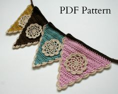 Crochet Bunting Pattern, PDF download, DIY tutorial, written pattern, suitable for beginners. £3.00, via Etsy.
