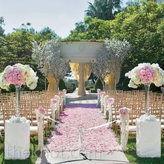 Pink, outdoor ceremony // photo by: John & Joseph Photography // Event Planning: Details Details // Location: St. Regis Monarch Beach Resort // Flowers: White Lilac Inc