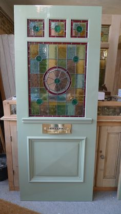 Three Over One Panel Stained Glass Front Door
