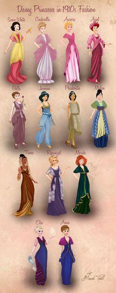 Disney Princesses in 1910s Fashion by Basak Tinli
