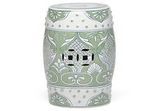 Carolyn Garden Stool, Light Green/White | Eastern Influence | One Kings Lane