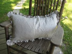 One Inch Ruffled 16x26 Washed Linen Pillow by cottageandcabin