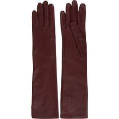 Lanvin Leather gloves ($710) ❤ liked on Polyvore featuring accessories, gloves, burgundy, lanvin, stretch gloves, long gloves, burgundy gloves and long leather gloves