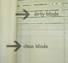 Keep Home Simple: How to Clean Dirty Blinds. 1:1 solution of water and distilled white vinegar, use a sock!