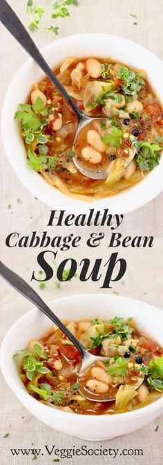 Healthy Cabbage and White Bean Soup Recipe with Italian flair from cannellini Beans, tomatoes and herbs. Vegan • Gluten-free • Detoxifying • Rich In Fiber & Protein | VeggieSociety.com @VeggieSociety White Bean Soup, White Beans, Raw Food Recipes, Vegetarian Recipes, Tomatoes, Vegan Gluten Free, Ramen, Cabbage, Fiber