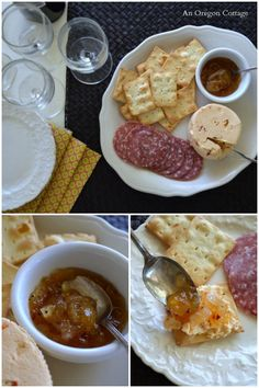 Sweet and Spicy Onion Marmalade Appetizer Plate - An Oregon Cottage Jam Recipes, Canning Recipes, Sauce Recipes, Gourmet Recipes, Great Recipes, Favorite Recipes, Delicious Recipes, Appetizer Plates, Appetizers