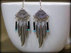 Tribal Earrings - Feather Earrings - Silver Earrings - Native Earrings - Bohemian Earrings - Southwest Fashion