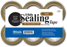 """bazic 1.88"""" x 109.3 yards tan packing tape (6/pack) Case of 6"""