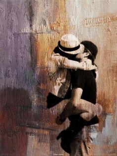 Olieverf schilderij echte Liefde Art Model, Black And White, Deco, Painting, Couple, Black N White, Black White, Painting Art, Decor