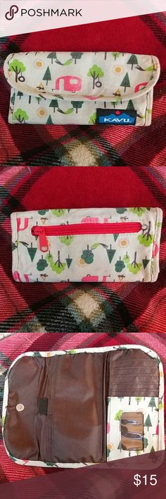 SALE! KAVU CAMPER WALLET This wallet is super cute!! Covered with pink retro campers, campfires, hammocks, and tire swings, it reminds me of my favorite activity every time I look at it! This was my wallet, and it has been well loved! I updated to a different design. There is minor fading on the flap and back. Other than that, it is in perfect cond. The plastic license view is completely intact. No rips or tears. The snap and zipper are perfect. Has been cleaned and ready for a new home…