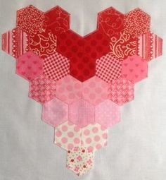 Hexagon heart - Whats about using the same idea with a simple cross stich pattern for a larger quiled block? eg fox? duck? blue bird?