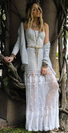 Hand Knit Maxi Skirt