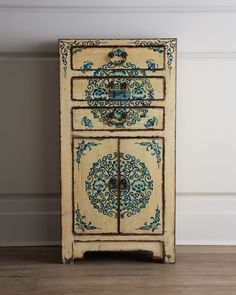 Three-Drawer Antique Wooden Cabinet - Horchow