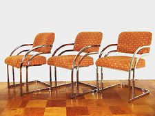 6 Mid Century Modern Milo Baughman Polished Chrome Dining Chairs...