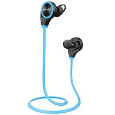 Ecandy Bluetooth 4.0 Wireless Stereo Sport / Laufen & Fitnessstudio / Sport Earbuds Kopfhörer Hands-Free Bluetooth-Headset mit Mikrofon für iPhone 6 5s 5c 4s 4, iPad 2 3 4 Neue iPad, iPod, Android, Samsung Galaxy, Smart Phones Bluetooth-Geräte. (blau)