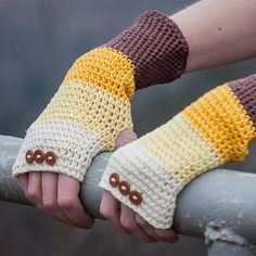 Brown Beige Yellow Fingerless Gloves / 100% Cotton by RUKAMIshop