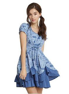"<p class=""MsoNormal""><font face=""Times New Roman, serif""><i>Little town, it's a quiet village. Every day like the one before. Little town, full of little people, waking up to say...</i></font><br></p>Say bonjour to this gorgeous blue dress, inspired by Belle! The corset front bodice features a scoop neck with scalloped lace trim and has ruffled puff sleeves. It finishes in a double layered pick-up skirt with a solid blue hem. The dress has an allover print that features important <i>Beauty…"