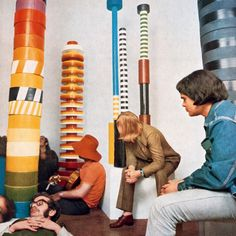 """""""Ancient civilizations and Pop Art were huge influences on Sottsass's work. In 1967, he melded the two for Menhir, Ziggurat, Stupas, Hydrants & Gas Pumps, an exhibition of oversize ceramic totems.""""  http://thetriumphofpostmodernism.tumblr.com  From 'Sottsass & India' Metropolis Magazine, June 2014"""