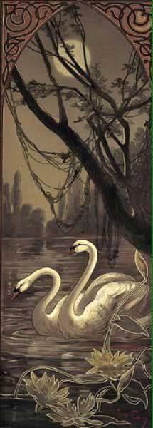 Swans at night - Mary Golay