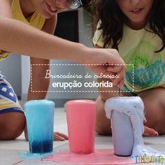 Uma Erupção Colorida é uma brincadeira de ciências em que a mistura de bicarbonato de sódio com vinagre e detergente vira um experimento surpreendente.