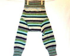 Medium Wool Longies / Wool Long Johns / Upcycled Wool Soaker Diaper Cover / Striped Unisex / Eggplant Green Blue Grey