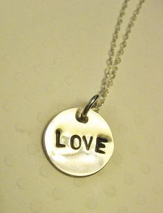 """$18----1/2"""" sterling silver hand stamped """"LOVE"""" pendant and 18"""" chain and findings. #jewelry #goldfilled #gold #sterlingsilver #wedding #bridal #bridesmaids #gift #love #heart #happy #necklace #handmade #handstamped #hand #stamped #custom #initial #initialnecklace"""
