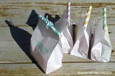 Washi tape, paper straws & twine make cute gift bags