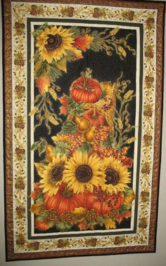 Autumn Harvest Wall Hanging from Timeless Treasures Fabric harvest line. $47.95, via Etsy.