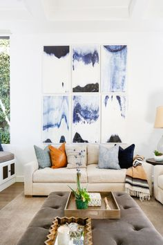 Tranquil artistic living room: http://www.stylemepretty.com/living/2016/10/14/20-sofa-moments-that-deserve-a-standing-ovation/ Photography: Tessa Neustadt - http://tessaneustadt.com/
