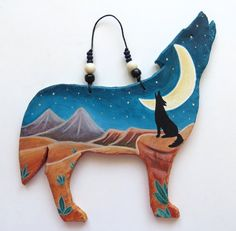 Howling wolf coyote southwestern spirit desert landscape night moon zuni hopi mesa western Native American Indian pueblo pottery primitive