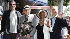 #StarTrek television series actors Leonard Nimoy, Walter Koenig, Nichelle Nichols and George Takei pose for a photo #TrekWalkofFame