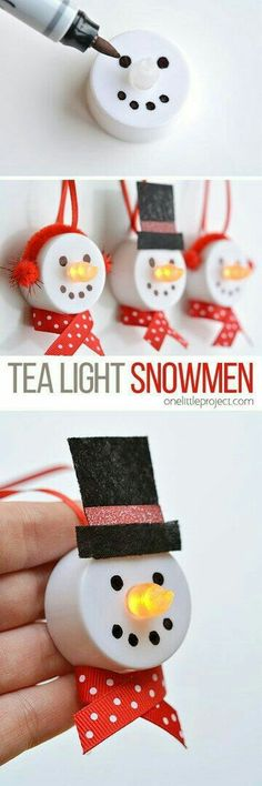 easy christmas snowman craft made of of a tea light