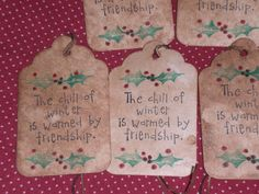 12 Christmas Holiday Friendship Primitive Stained Rustic Hang Tags Gift Ties #Handmade