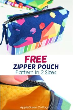 My best free zipper pouch pattern! Sew a zipper pouch for every occasion and every recipient! This is a fully lined diy zipper pouch.I love this zippered pouch design, and so will you. Stuff this diy zippered pouch with a bunch of chocolate or even make another diy gift to put it in. Get the free pattern from my shop now. #zipperpouch #freepattern #sewing Diy Pouch No Zipper, Zipper Bags, Fabric Bags, Sew Bags, Bags Sewing, Easy Sewing Projects, Sewing Tutorials, Pouch Pattern, Pattern Art