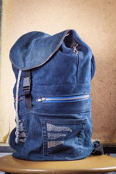 Denim monocolor backpack with flap Laconic by bRucksack on Etsy