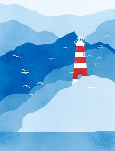Lighthouse Nautical Print  Seagulls  Navy Blue Red and by evesand