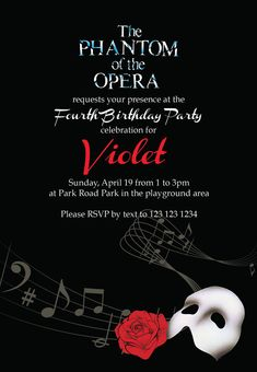 Phantom of the Opera Party Invitation and by rkDesignsStudio